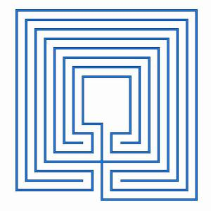 The classical labyrinth in rectangular shape with large centre