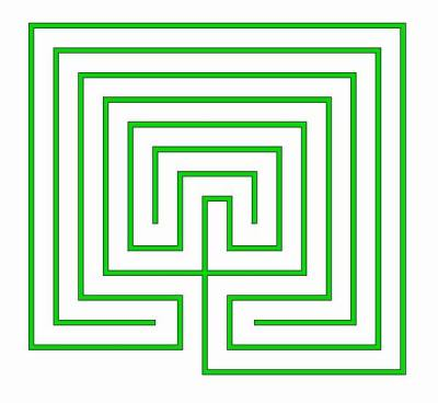 The classical labyrinth in rectangular shape with small centre