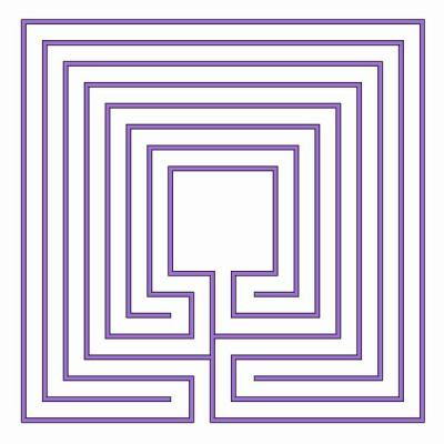 The classical labyrinth in square shape with large centre