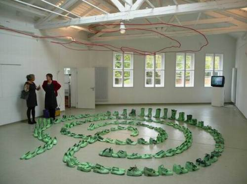 """Labyrinth of shoes in the """"Altes Schlachthaus"""""""