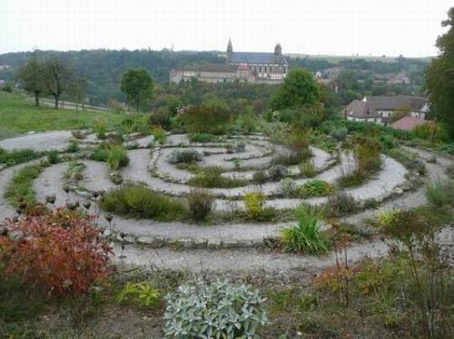 Labyrinth of stones and herbs at Kleincomburg