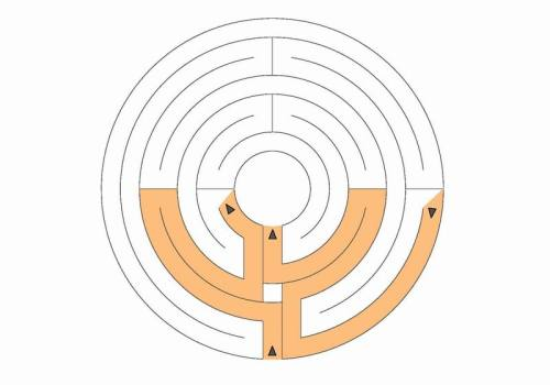 Centred medieval labyrinth with 7 circuits