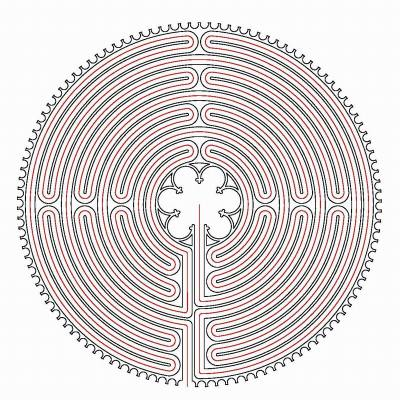 Der rote Faden im Chartres Labyrinth