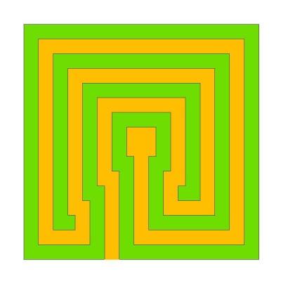 Klassisches quadratisches Labyrinth mit 3 Umgängen