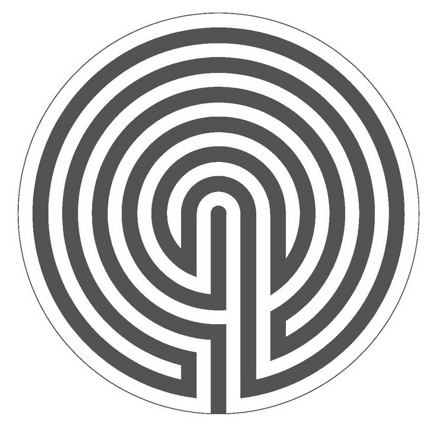 Ariadne's thread (in black) in a 6 circuit labyrinth