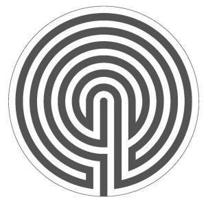 Der Ariadnefaden (in schwarz) im 6-gängigen Labyrinth