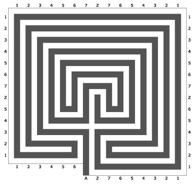 Ariadne's thread (in black) inside the labyrinth