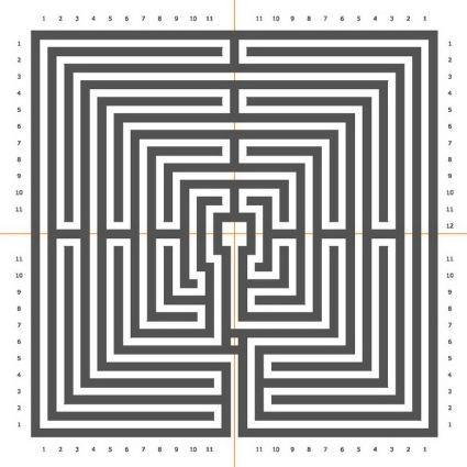 Das Chartres Labyrinth in quadratischer Form