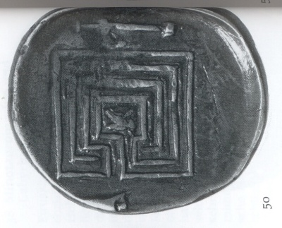 Square labyrinth with 3 circuits 431-350 BC