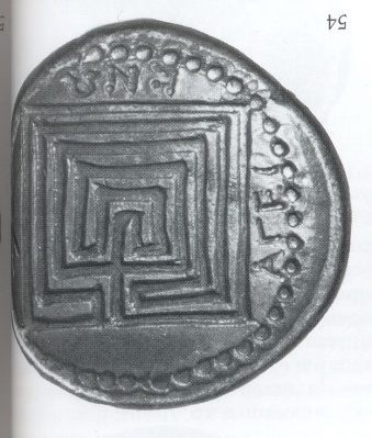 Square labyrinth with five circuits and drawing mistakes 350-300 BC