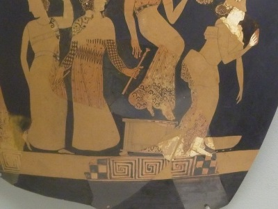 Vase painting of a chorus from 400 BC