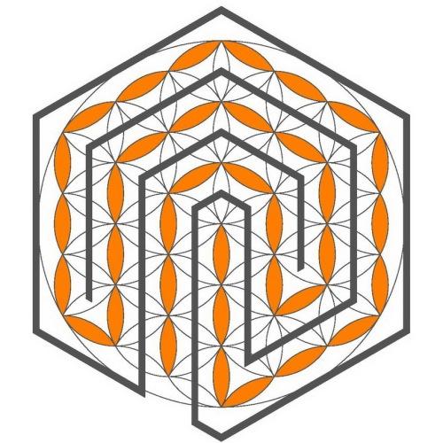 Das ganze Labyrinth in der Blume des Lebens
