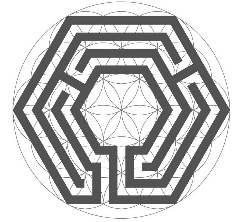 The switched hexagonal labyrinth inside the Flower of Life