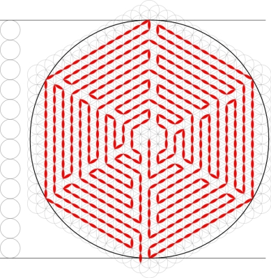 Figure 4: Labyrinth of the type KS 3-3 on the hexagonal grid from the Flower of Life