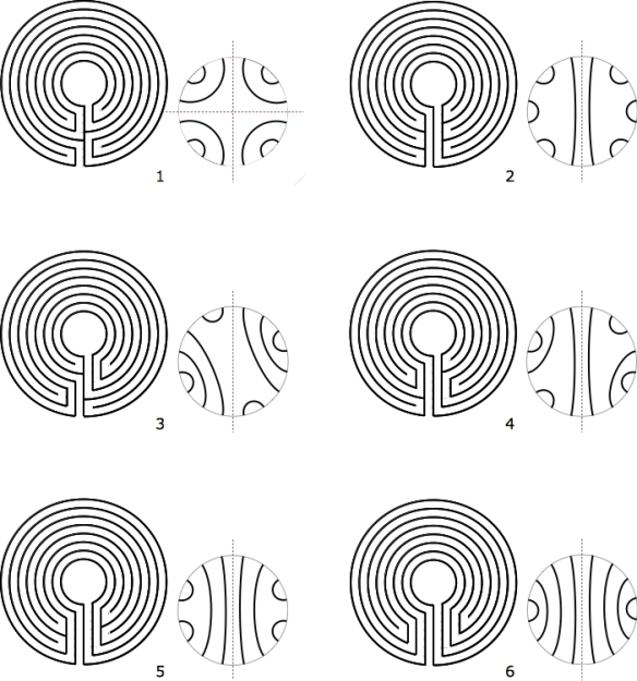 The labyrinths with their seed patterns