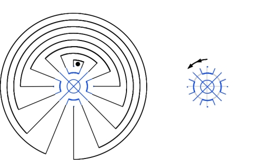 The Snail Shell labyrinth in anticlockwise rotation