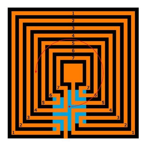 Das kretische Labyrinth in quadratischer Form
