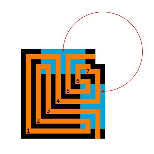 """Das """"geviertelte"""" kretische Labyrinth"""