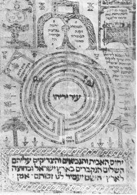 The Jericho Labyrinth (type von Xanten) on a Hebrew scroll