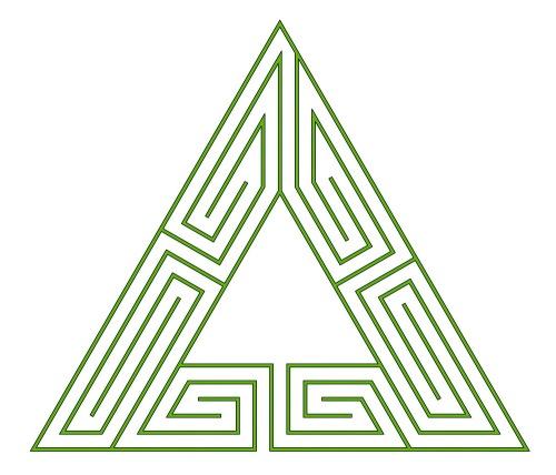 Römisches 5-gängiges Mäander Weihnachtsbaumlabyrinth