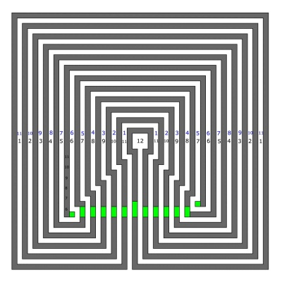 11 circuit Labyrinth in square style