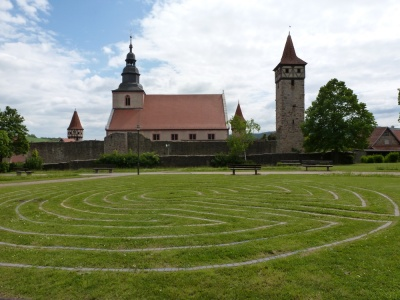 9 circuit Labyrinth in circular style at Ostheim vor der Rhön (Germany)