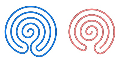 Blue and red spirals