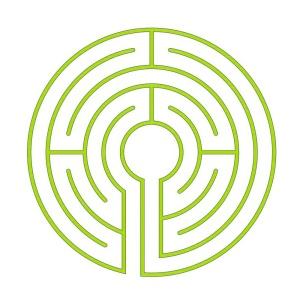 Systemskizze für das 5-gängige Chartres Labyrinth (Demi-Chartres)