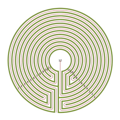 The complementary 11 circuit labyrinth made from the seed pattern