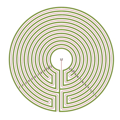 The 11 circuit labyrinth made from the seed pattern