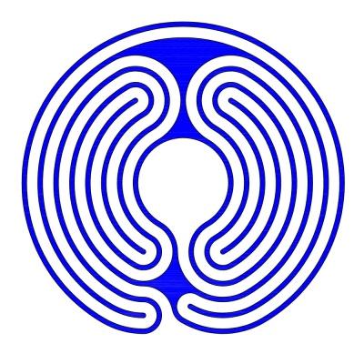 Ein zweiteiliges 7-gängiges Labyrinth im Knidos Stil (Eingang 3. Umgang)