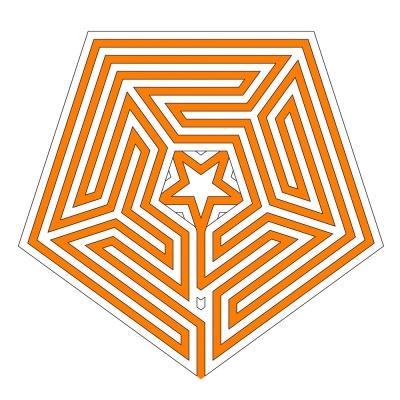 Der Ariadnefaden im dualen zentrierten Labyrinth Typ Gossembrot 51 r in fünfeckiger Form