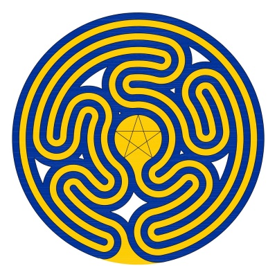 Das Gossembrot Fingerlabyrinth in den europäischen Farben