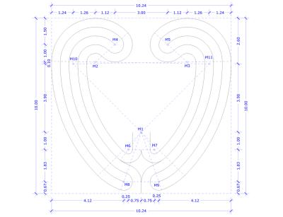 Das Herzlabyrinth mit einigen Konstruktionselementen