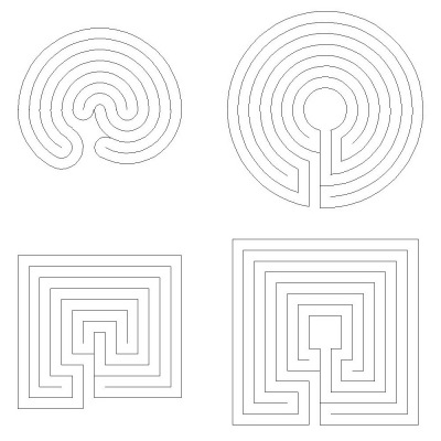 Das komplementäre Labyrinth in verschiedenen Stilen