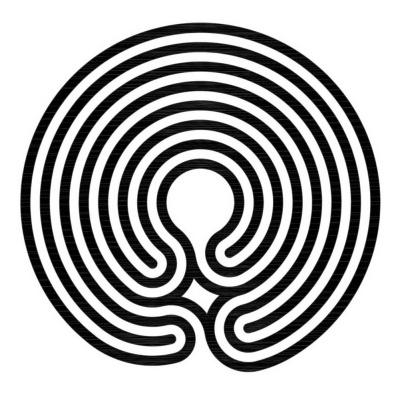 Das 7-gängige klassische Labyrinth im Knidos Stil mit zentraler Achse