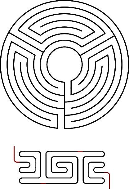Abbildung 7. Selbstduales Labyrinth mit Verlauf CB und drei Achsen