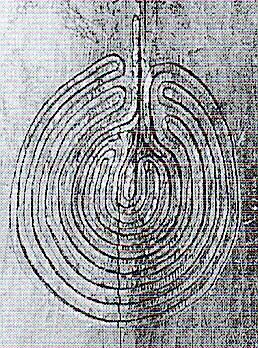 Abbildung 1. Labyrinth aus dem 18. oder 19. Jh. geschnitzt auf einem Holzpfeiler in der alten Moschee in Tal, Nordpakistan.